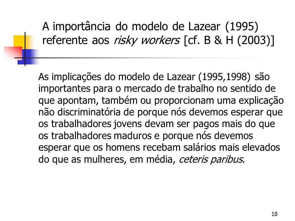 18 A importância do modelo de Lazear (1995) referente aos risky workers [cf. B & H (2003)] As implicações do modelo de Lazear (1995,1998) são importan