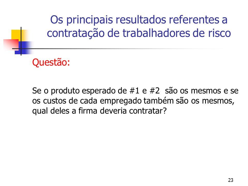 23 Os principais resultados referentes a contratação de trabalhadores de risco Questão: Se o produto esperado de #1 e #2 são os mesmos e se os custos