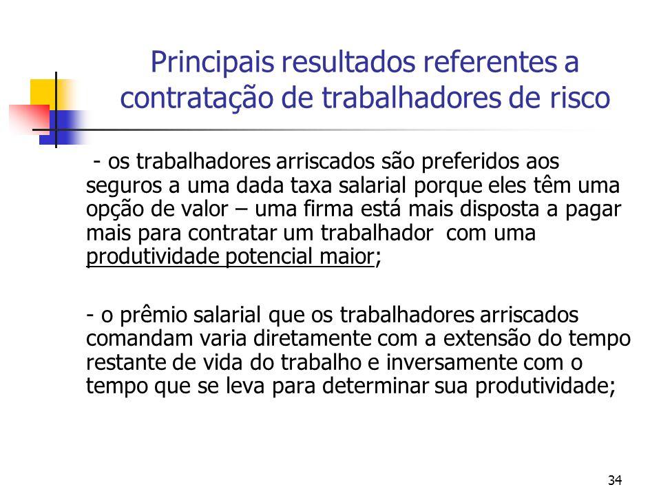 34 Principais resultados referentes a contratação de trabalhadores de risco - os trabalhadores arriscados são preferidos aos seguros a uma dada taxa s