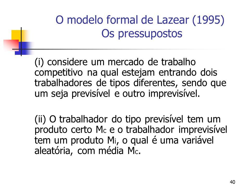 40 O modelo formal de Lazear (1995) Os pressupostos (i) considere um mercado de trabalho competitivo na qual estejam entrando dois trabalhadores de tipos diferentes, sendo que um seja previsível e outro imprevisível.