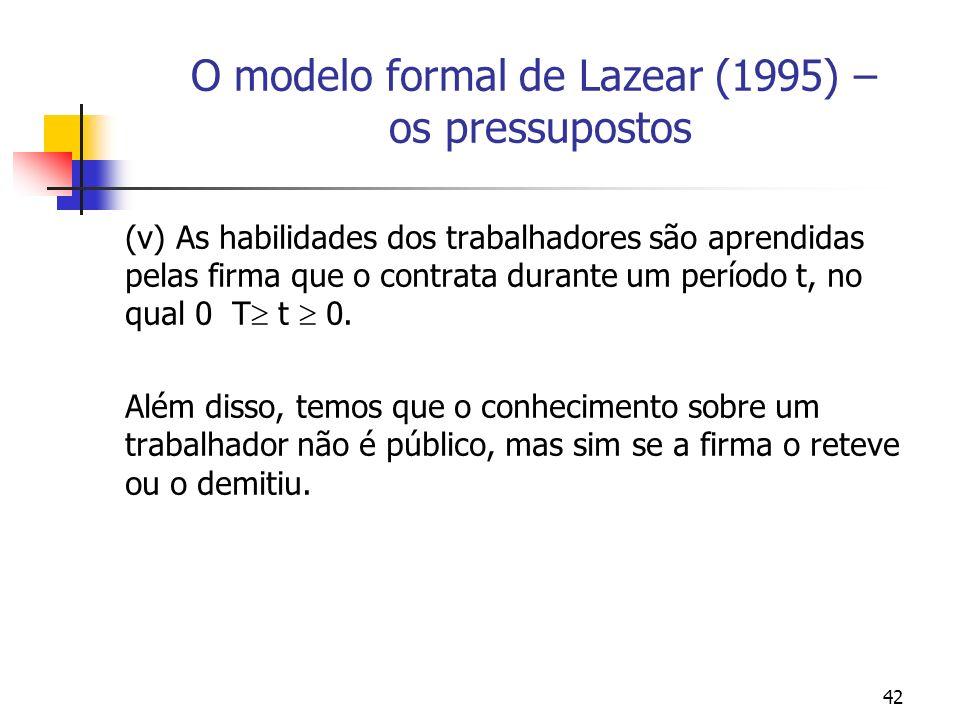 42 O modelo formal de Lazear (1995) – os pressupostos (v) As habilidades dos trabalhadores são aprendidas pelas firma que o contrata durante um período t, no qual 0 T t 0.