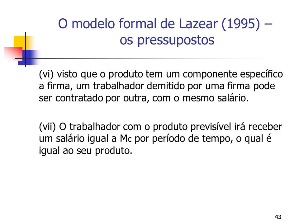 43 O modelo formal de Lazear (1995) – os pressupostos (vi) visto que o produto tem um componente específico a firma, um trabalhador demitido por uma f