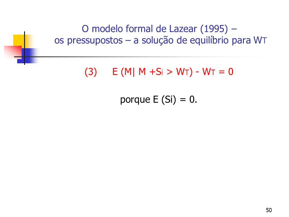 50 O modelo formal de Lazear (1995) – os pressupostos – a solução de equilíbrio para W T (3) E (M| M +S i > W T ) - W T = 0 porque E (Si) = 0.