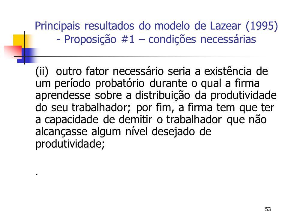 53 Principais resultados do modelo de Lazear (1995) - Proposição #1 – condições necessárias (ii) outro fator necessário seria a existência de um perío