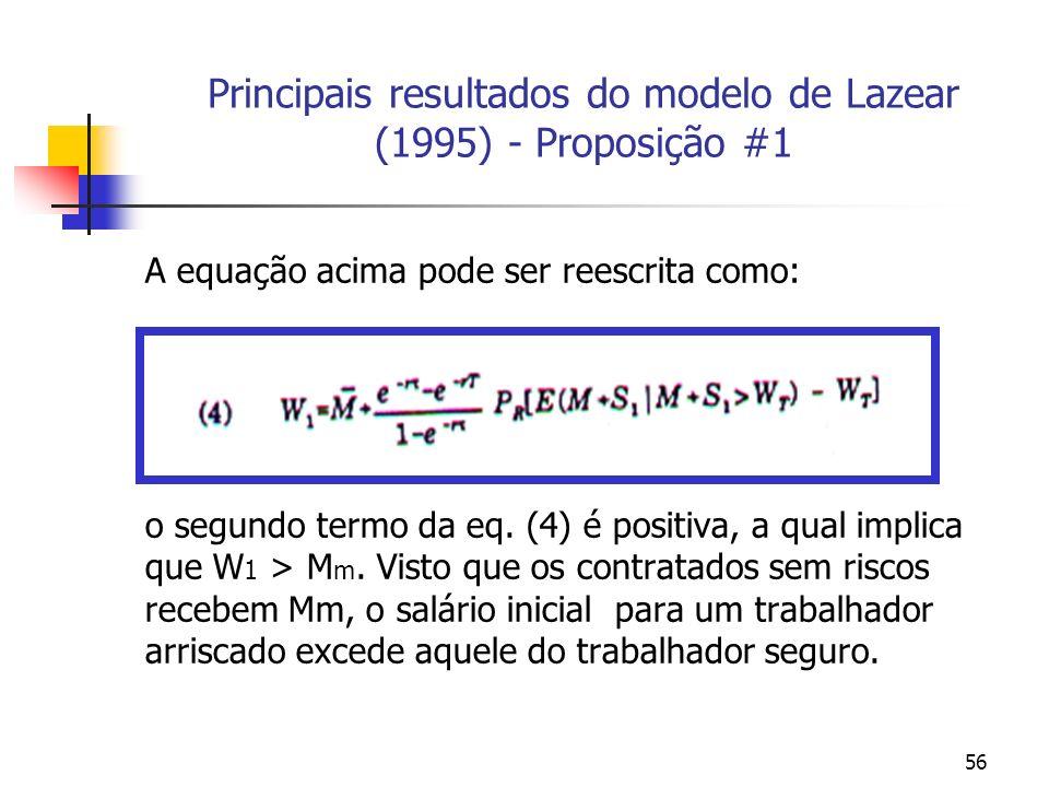 56 Principais resultados do modelo de Lazear (1995) - Proposição #1 A equação acima pode ser reescrita como: o segundo termo da eq. (4) é positiva, a