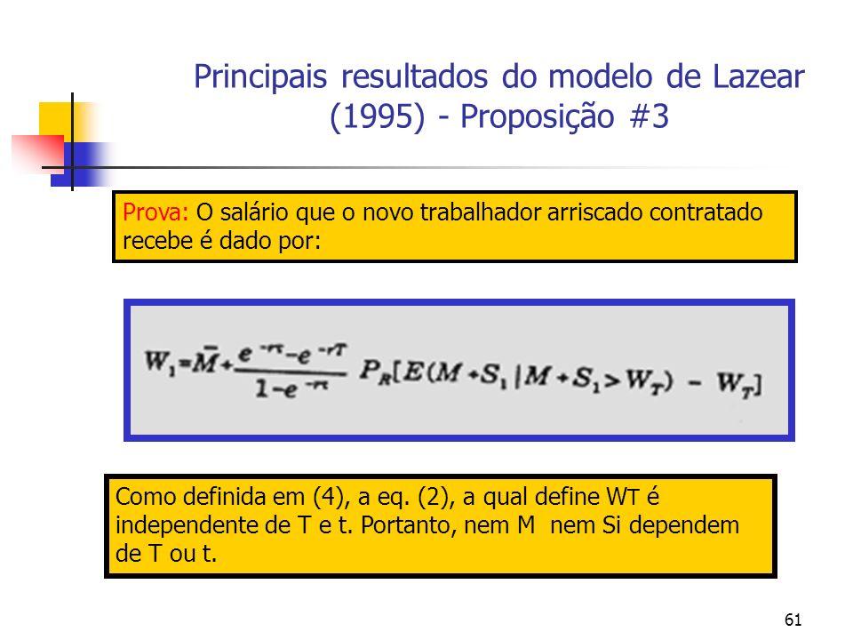 61 Principais resultados do modelo de Lazear (1995) - Proposição #3 Prova: O salário que o novo trabalhador arriscado contratado recebe é dado por: Como definida em (4), a eq.