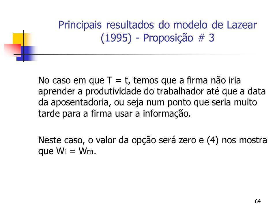 64 Principais resultados do modelo de Lazear (1995) - Proposição # 3 No caso em que T = t, temos que a firma não iria aprender a produtividade do trabalhador até que a data da aposentadoria, ou seja num ponto que seria muito tarde para a firma usar a informação.