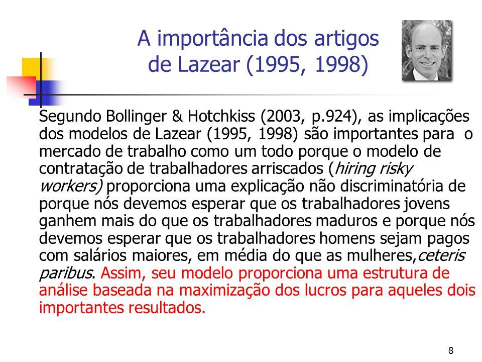 8 A importância dos artigos de Lazear (1995, 1998) Segundo Bollinger & Hotchkiss (2003, p.924), as implicações dos modelos de Lazear (1995, 1998) são importantes para o mercado de trabalho como um todo porque o modelo de contratação de trabalhadores arriscados (hiring risky workers) proporciona uma explicação não discriminatória de porque nós devemos esperar que os trabalhadores jovens ganhem mais do que os trabalhadores maduros e porque nós devemos esperar que os trabalhadores homens sejam pagos com salários maiores, em média do que as mulheres,ceteris paribus.
