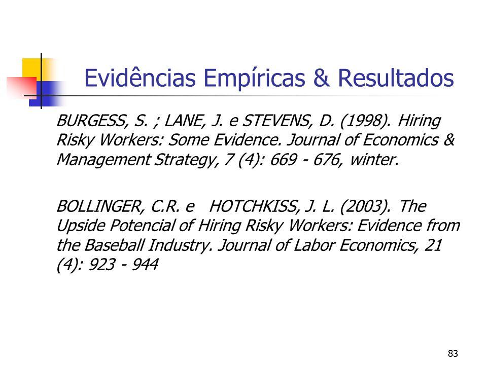 83 Evidências Empíricas & Resultados BURGESS, S. ; LANE, J. e STEVENS, D. (1998). Hiring Risky Workers: Some Evidence. Journal of Economics & Manageme