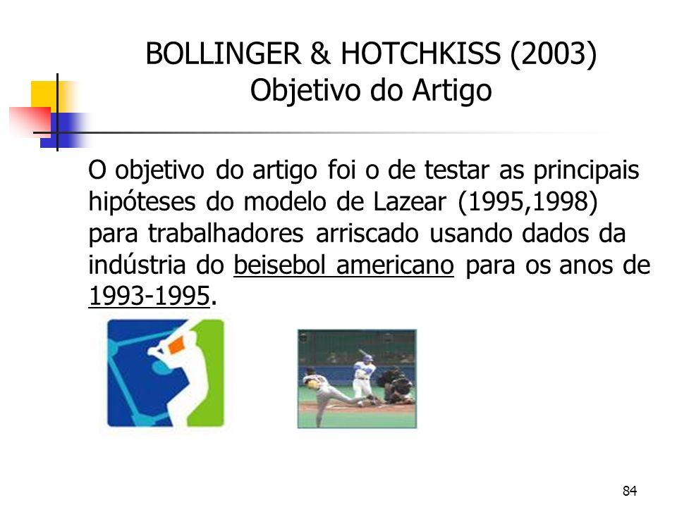 84 BOLLINGER & HOTCHKISS (2003) Objetivo do Artigo O objetivo do artigo foi o de testar as principais hipóteses do modelo de Lazear (1995,1998) para trabalhadores arriscado usando dados da indústria do beisebol americano para os anos de 1993-1995.