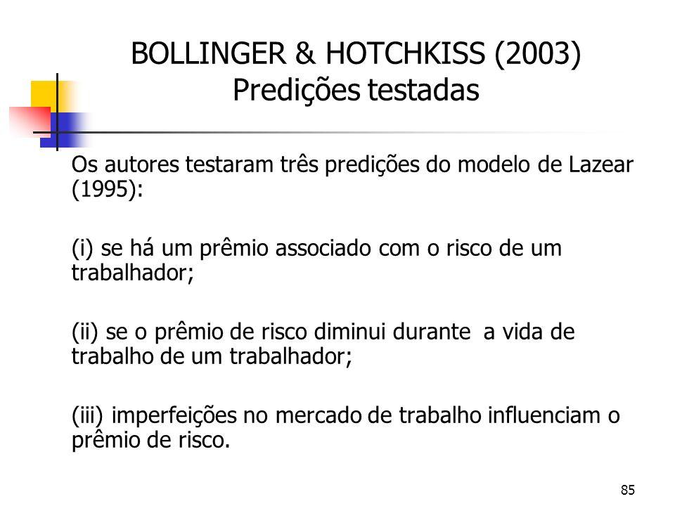 85 BOLLINGER & HOTCHKISS (2003) Predições testadas Os autores testaram três predições do modelo de Lazear (1995): (i) se há um prêmio associado com o risco de um trabalhador; (ii) se o prêmio de risco diminui durante a vida de trabalho de um trabalhador; (iii) imperfeições no mercado de trabalho influenciam o prêmio de risco.