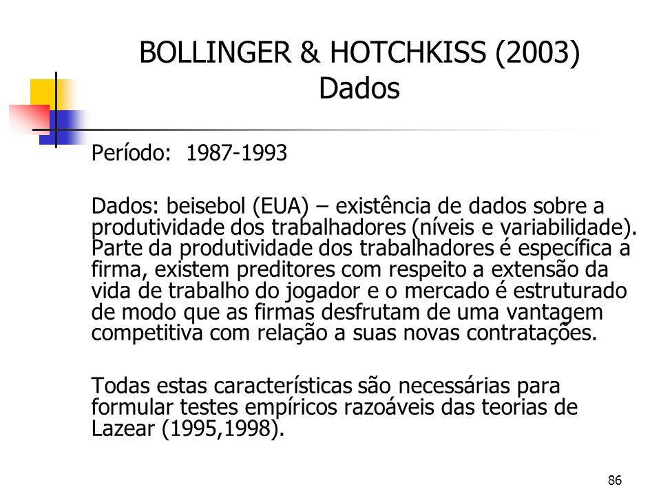 86 BOLLINGER & HOTCHKISS (2003) Dados Período: 1987-1993 Dados: beisebol (EUA) – existência de dados sobre a produtividade dos trabalhadores (níveis e variabilidade).