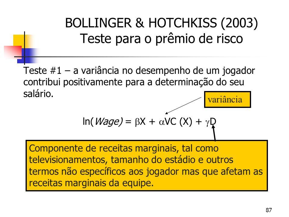 87 BOLLINGER & HOTCHKISS (2003) Teste para o prêmio de risco Teste #1 – a variância no desempenho de um jogador contribui positivamente para a determinação do seu salário.