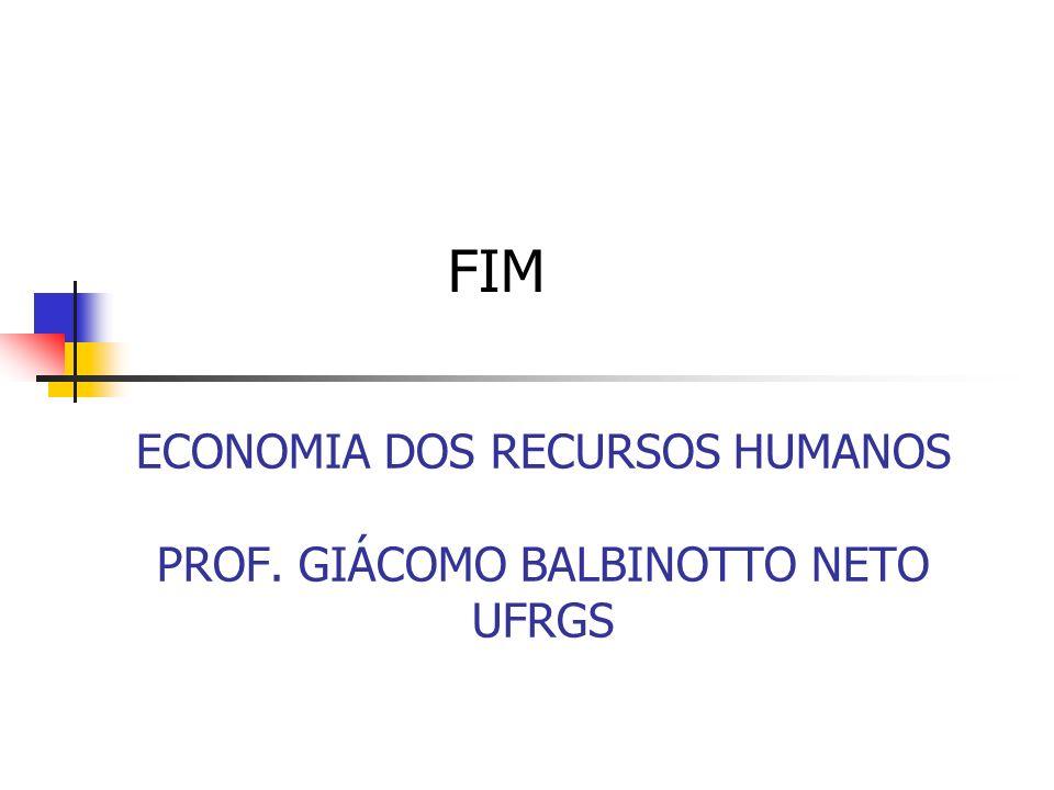 ECONOMIA DOS RECURSOS HUMANOS PROF. GIÁCOMO BALBINOTTO NETO UFRGS FIM