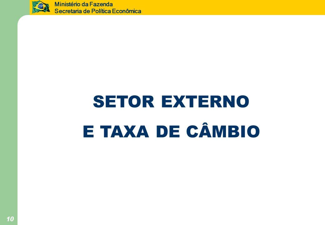 Ministério da Fazenda Secretaria de Política Econômica 10 SETOR EXTERNO E TAXA DE CÂMBIO