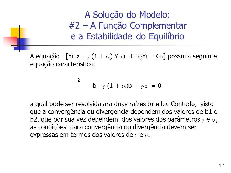 12 A Solução do Modelo: #2 – A Função Complementar e a Estabilidade do Equilíbrio A equação [Y t+2 - (1 + ) Y t+1 + Y t = G o ] possui a seguinte equa