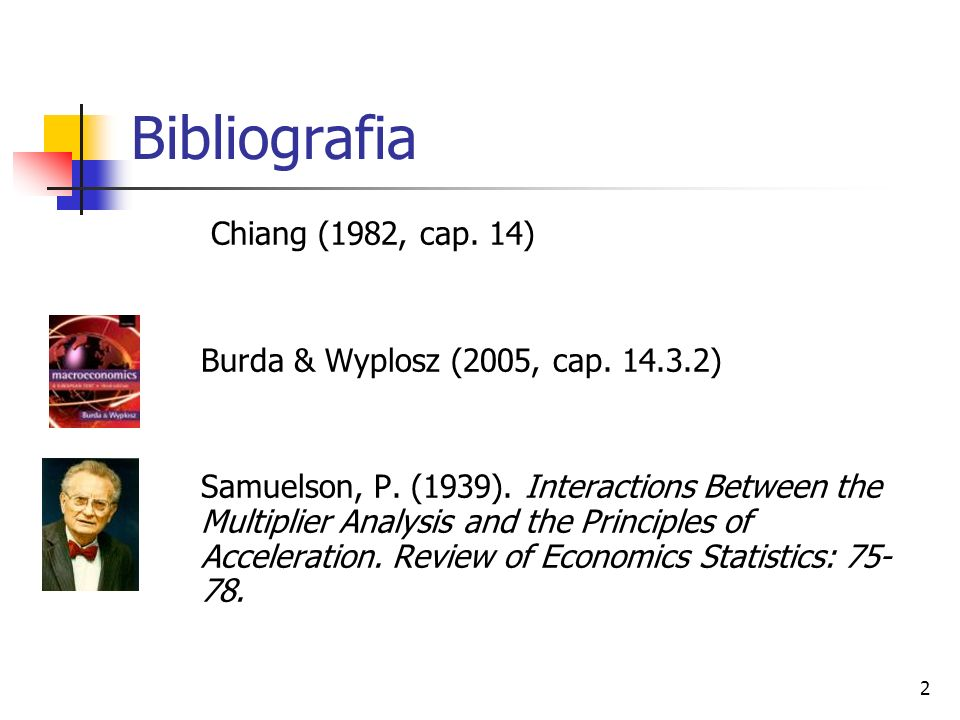 2 Bibliografia Chiang (1982, cap. 14) Burda & Wyplosz (2005, cap. 14.3.2) Samuelson, P. (1939). Interactions Between the Multiplier Analysis and the P