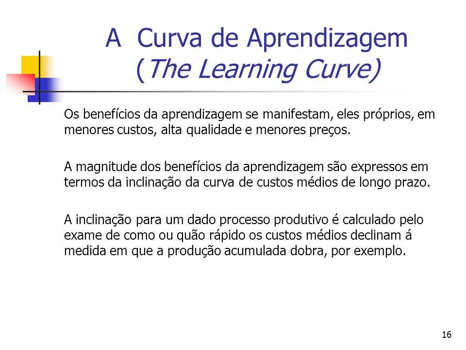 16 A Curva de Aprendizagem (The Learning Curve) Os benefícios da aprendizagem se manifestam, eles próprios, em menores custos, alta qualidade e menore