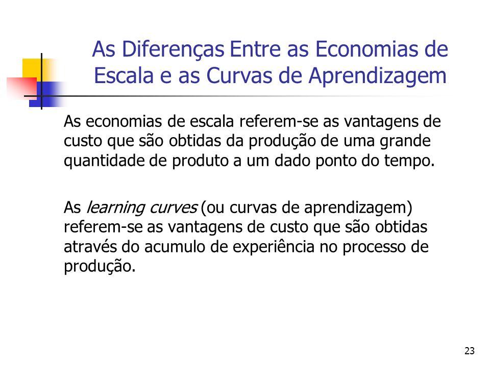 23 As Diferenças Entre as Economias de Escala e as Curvas de Aprendizagem As economias de escala referem-se as vantagens de custo que são obtidas da p