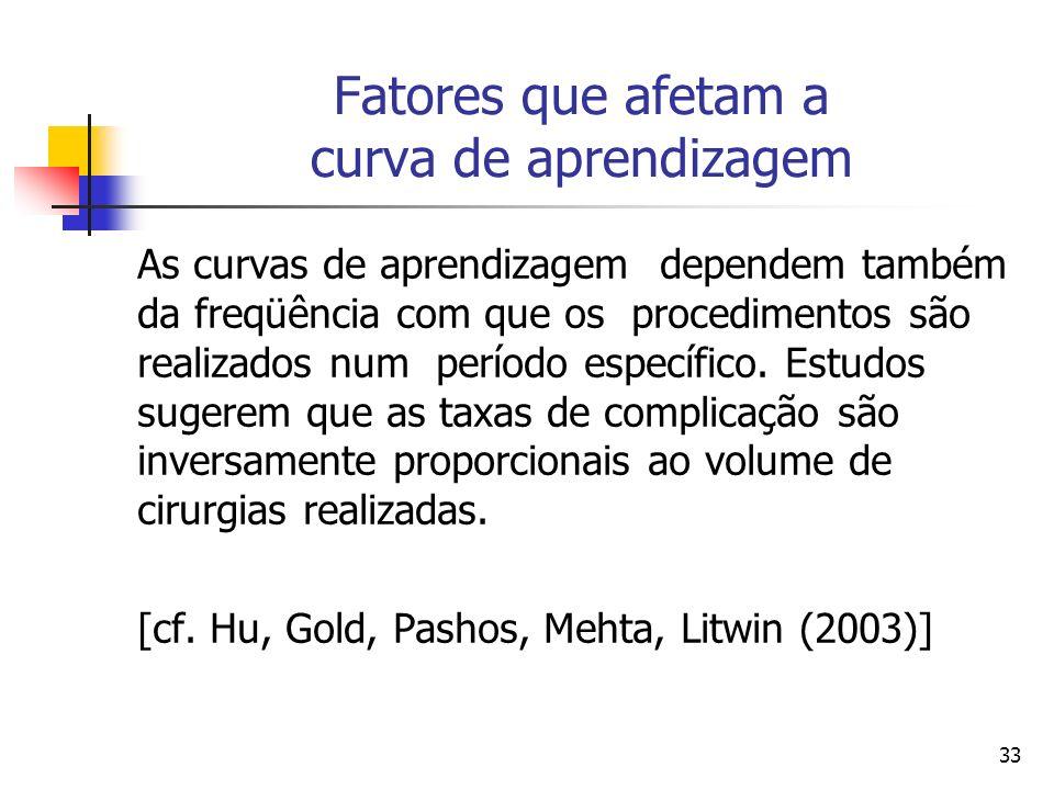 33 Fatores que afetam a curva de aprendizagem As curvas de aprendizagem dependem também da freqüência com que os procedimentos são realizados num perí