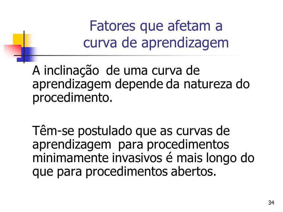 34 Fatores que afetam a curva de aprendizagem A inclinação de uma curva de aprendizagem depende da natureza do procedimento. Têm-se postulado que as c