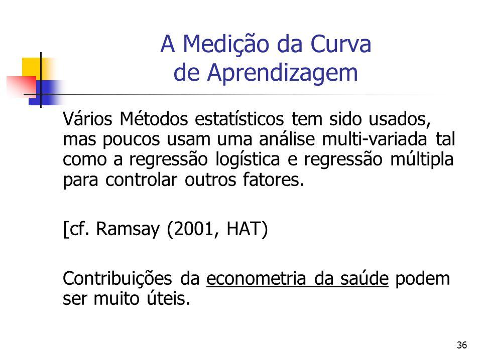 36 A Medição da Curva de Aprendizagem Vários Métodos estatísticos tem sido usados, mas poucos usam uma análise multi-variada tal como a regressão logí