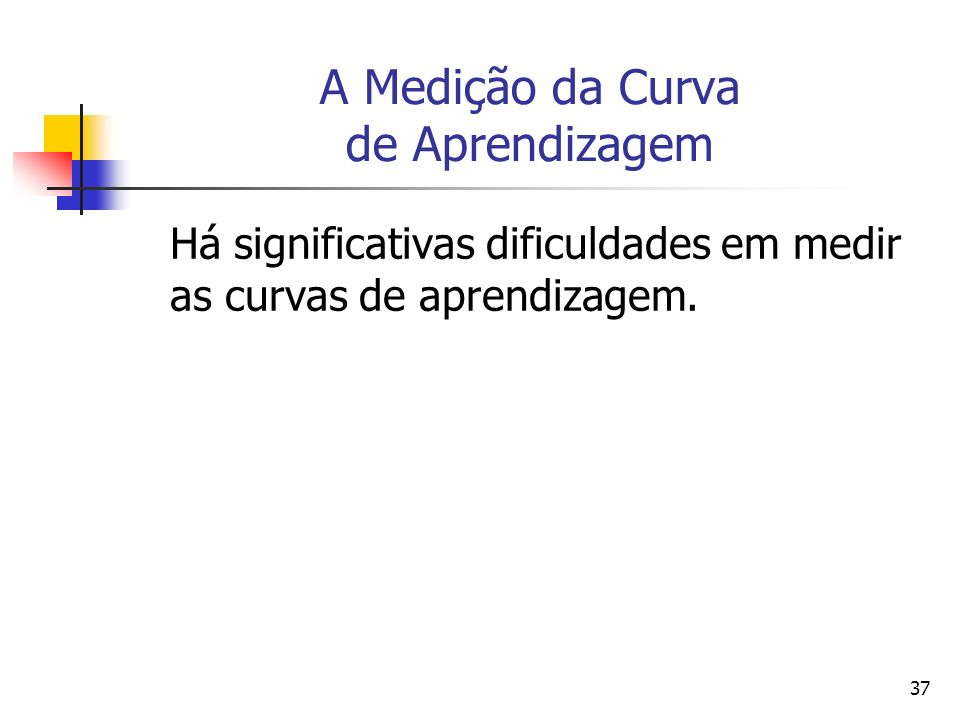 37 A Medição da Curva de Aprendizagem Há significativas dificuldades em medir as curvas de aprendizagem.