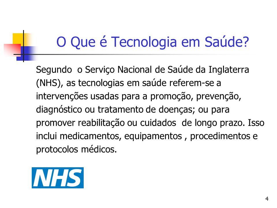 4 O Que é Tecnologia em Saúde? Segundo o Serviço Nacional de Saúde da Inglaterra (NHS), as tecnologias em saúde referem-se a intervenções usadas para