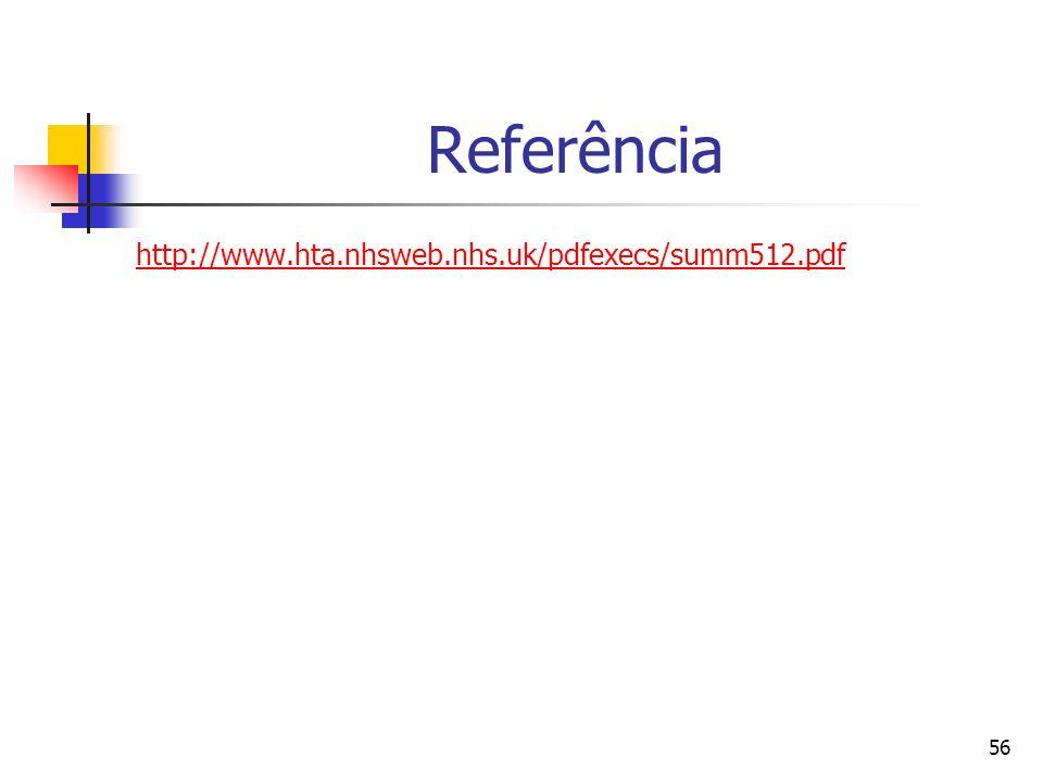 56 Referência http://www.hta.nhsweb.nhs.uk/pdfexecs/summ512.pdf