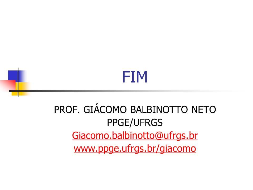 FIM PROF. GIÁCOMO BALBINOTTO NETO PPGE/UFRGS Giacomo.balbinotto@ufrgs.br www.ppge.ufrgs.br/giacomo