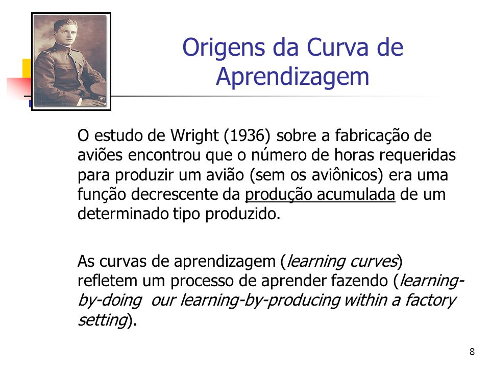8 Origens da Curva de Aprendizagem O estudo de Wright (1936) sobre a fabricação de aviões encontrou que o número de horas requeridas para produzir um