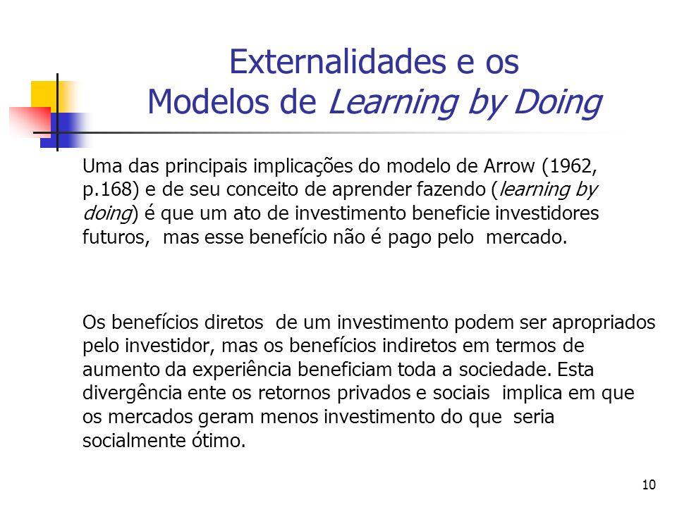 10 Externalidades e os Modelos de Learning by Doing Uma das principais implicações do modelo de Arrow (1962, p.168) e de seu conceito de aprender faze