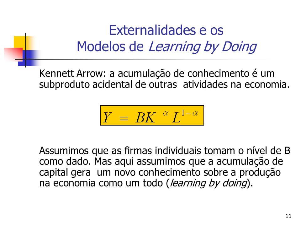 11 Externalidades e os Modelos de Learning by Doing Kennett Arrow: a acumulação de conhecimento é um subproduto acidental de outras atividades na econ