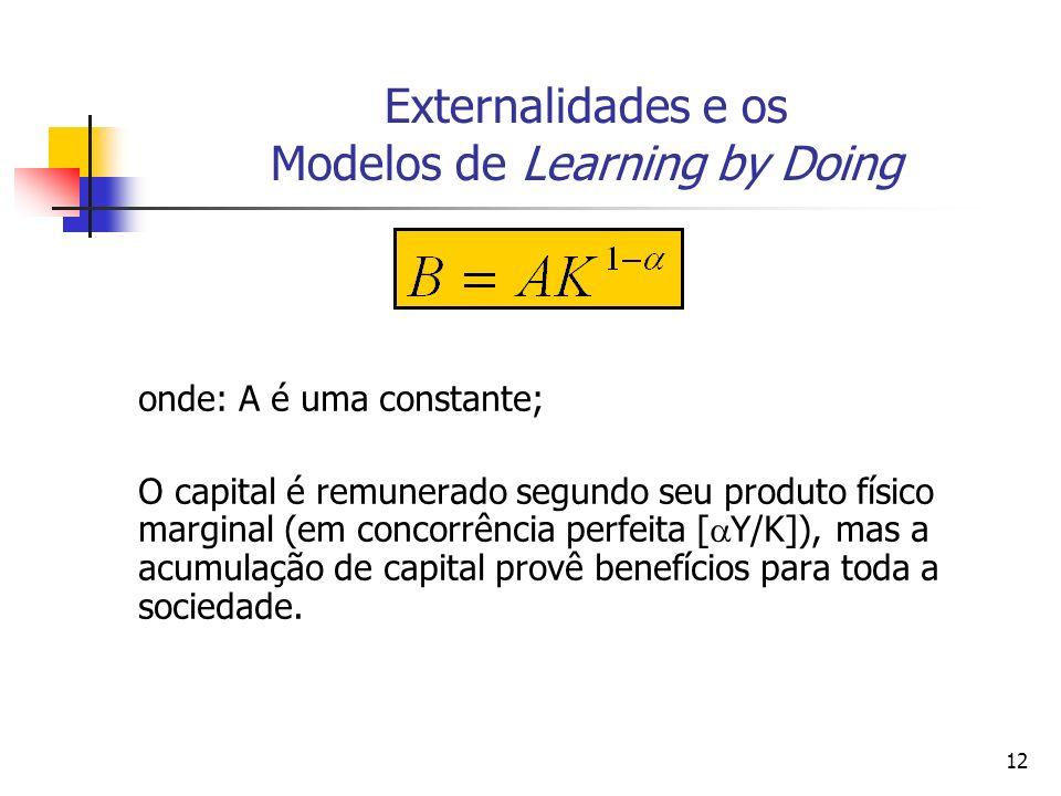 12 Externalidades e os Modelos de Learning by Doing onde: A é uma constante; O capital é remunerado segundo seu produto físico marginal (em concorrênc