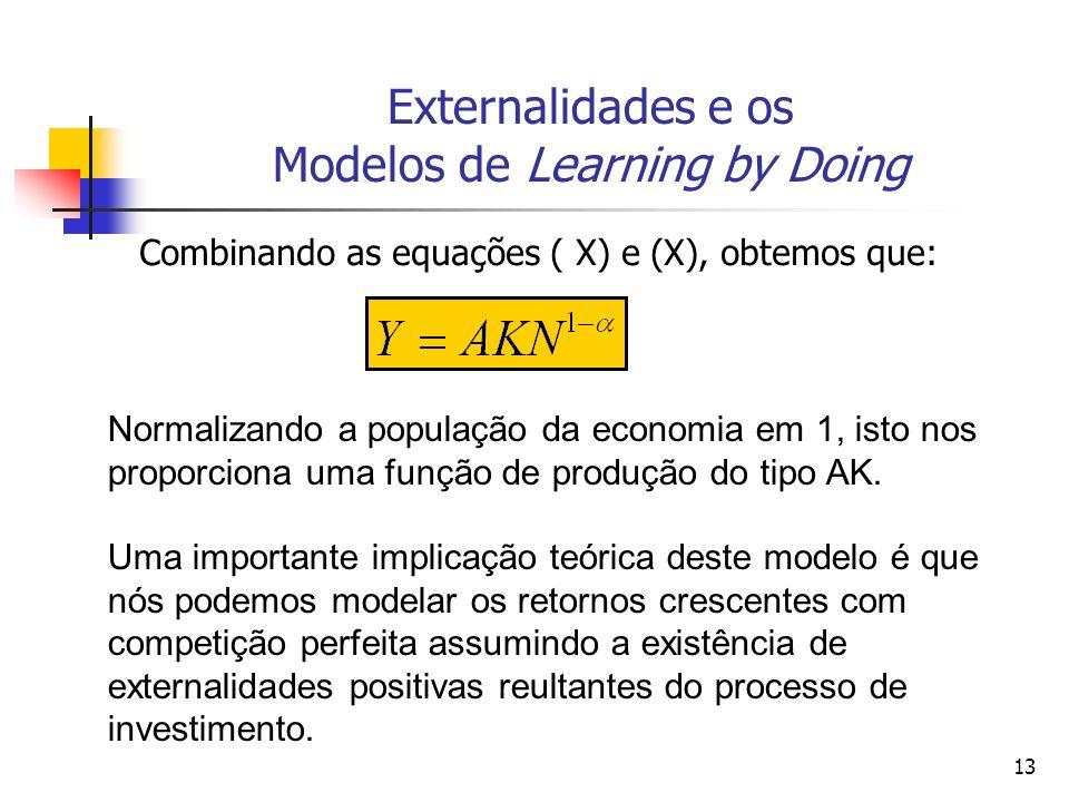 13 Externalidades e os Modelos de Learning by Doing Combinando as equações ( X) e (X), obtemos que: Normalizando a população da economia em 1, isto no
