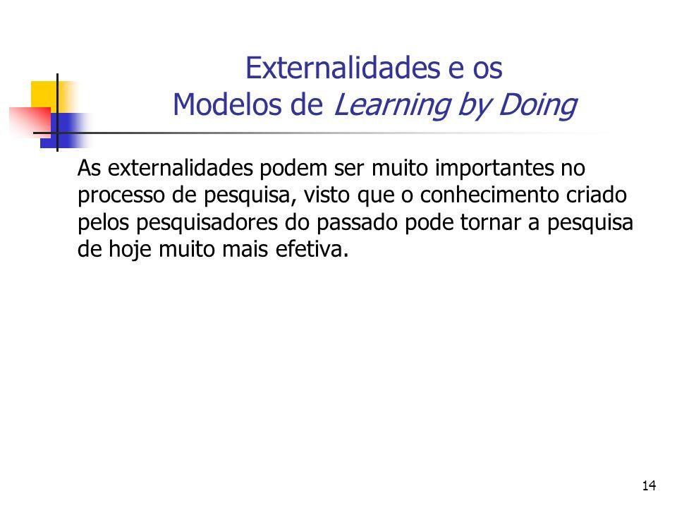 14 Externalidades e os Modelos de Learning by Doing As externalidades podem ser muito importantes no processo de pesquisa, visto que o conhecimento cr