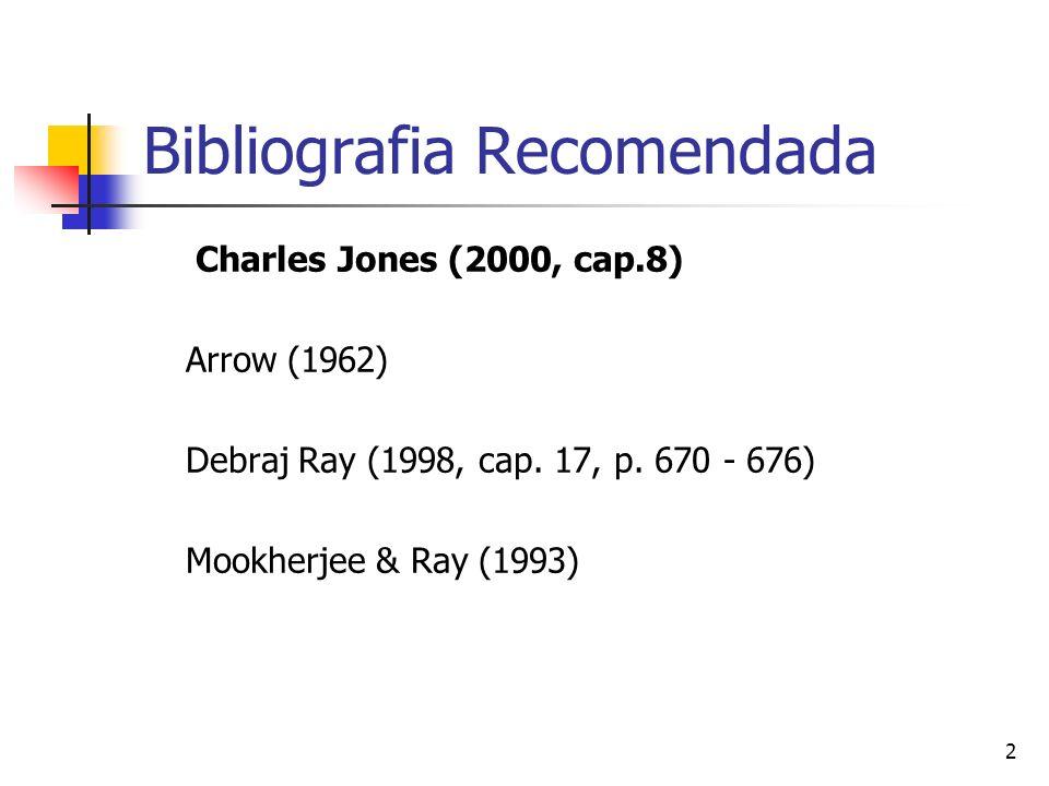 2 Bibliografia Recomendada Charles Jones (2000, cap.8) Arrow (1962) Debraj Ray (1998, cap. 17, p. 670 - 676) Mookherjee & Ray (1993)