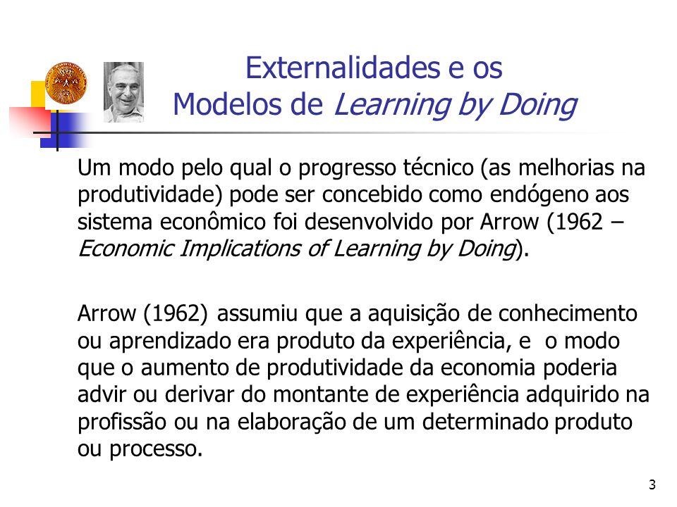 3 Externalidades e os Modelos de Learning by Doing Um modo pelo qual o progresso técnico (as melhorias na produtividade) pode ser concebido como endóg