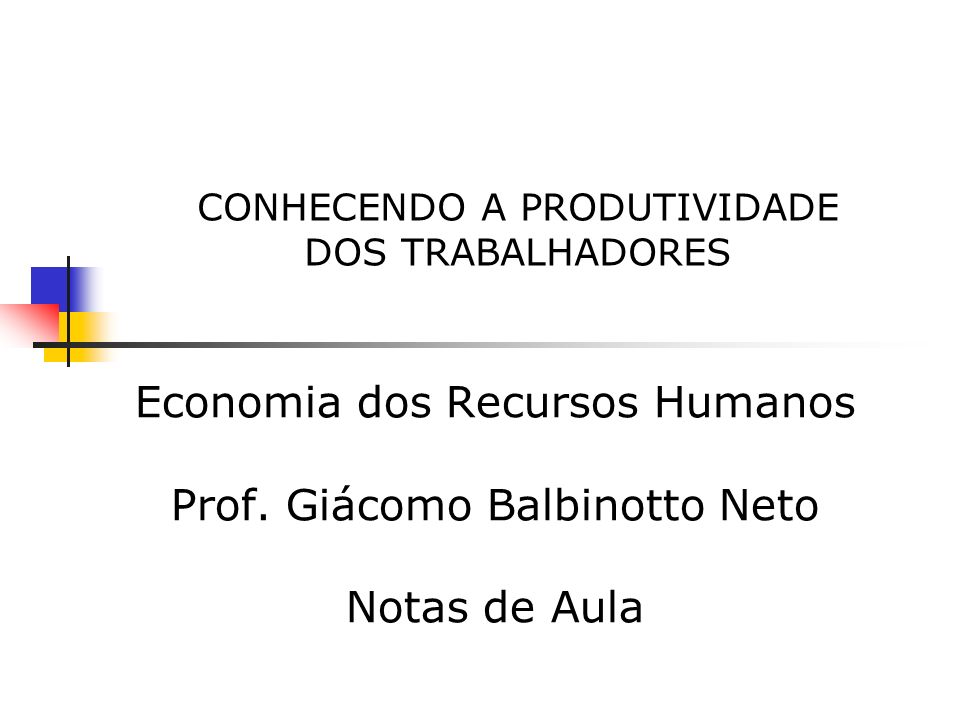 CONHECENDO A PRODUTIVIDADE DOS TRABALHADORES Economia dos Recursos Humanos Prof.