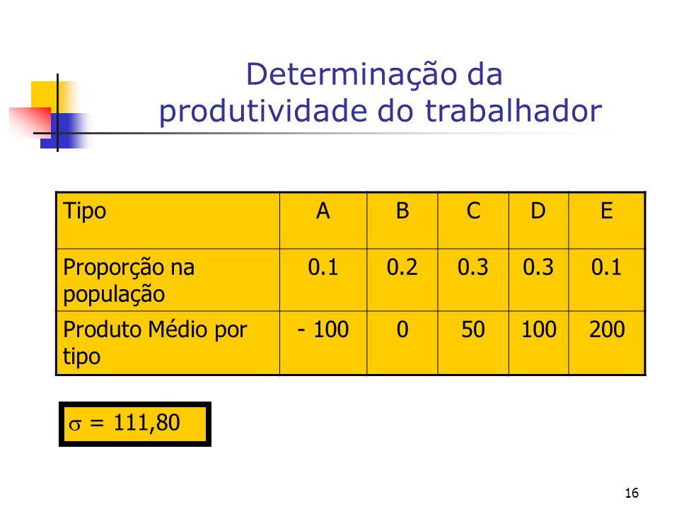 16 Determinação da produtividade do trabalhador TipoABCDE Proporção na população 0.10.20.3 0.1 Produto Médio por tipo - 100050100200 = 111,80