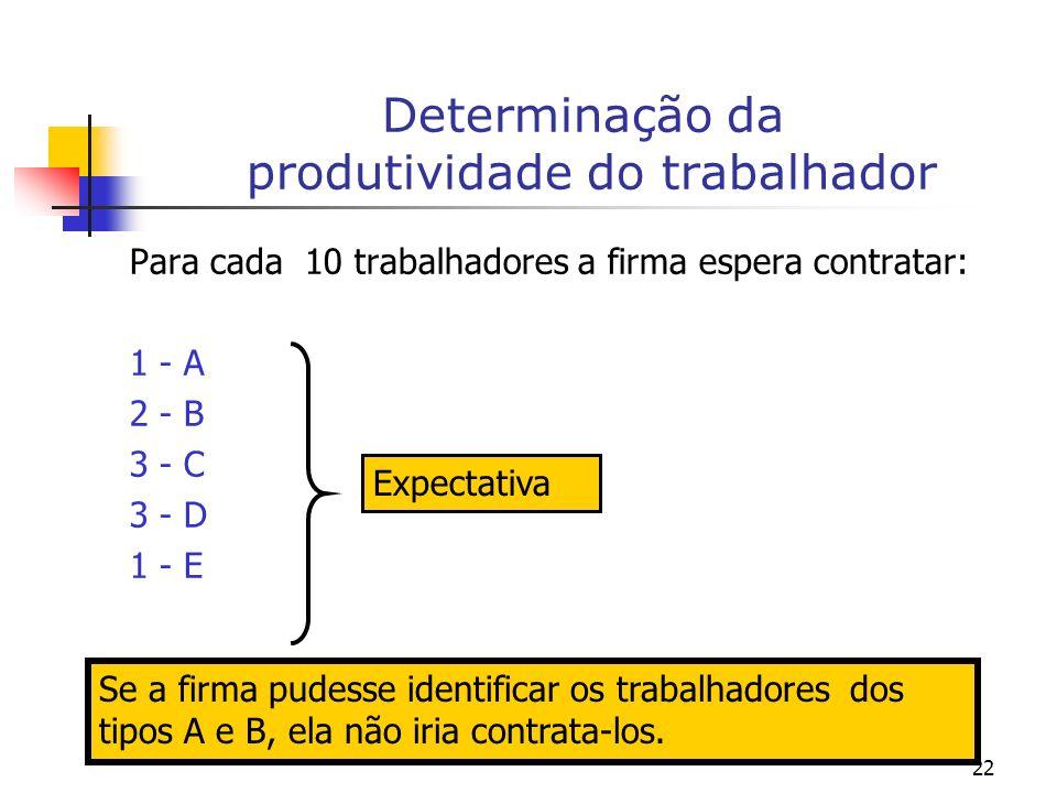 22 Determinação da produtividade do trabalhador Para cada 10 trabalhadores a firma espera contratar: 1 - A 2 - B 3 - C 3 - D 1 - E Expectativa Se a firma pudesse identificar os trabalhadores dos tipos A e B, ela não iria contrata-los.