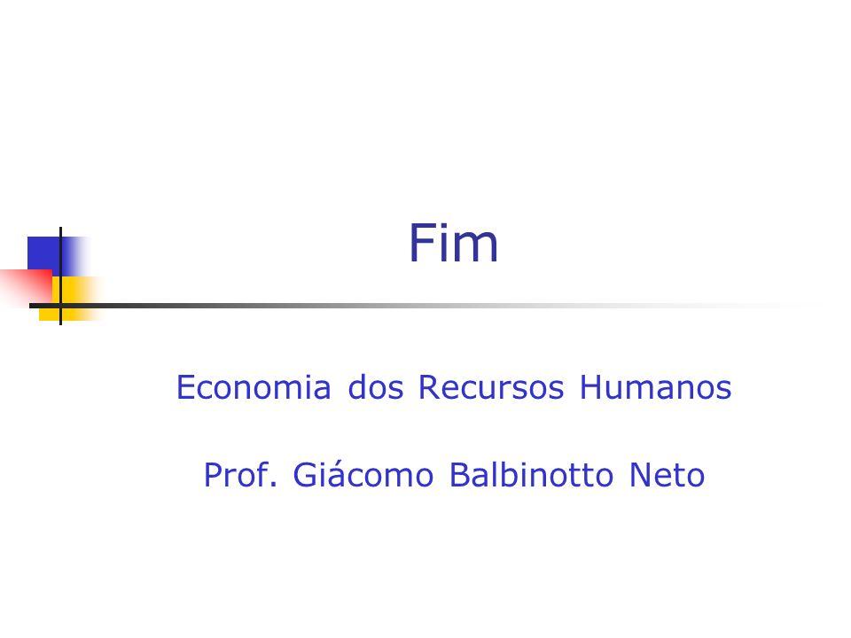 Fim Economia dos Recursos Humanos Prof. Giácomo Balbinotto Neto