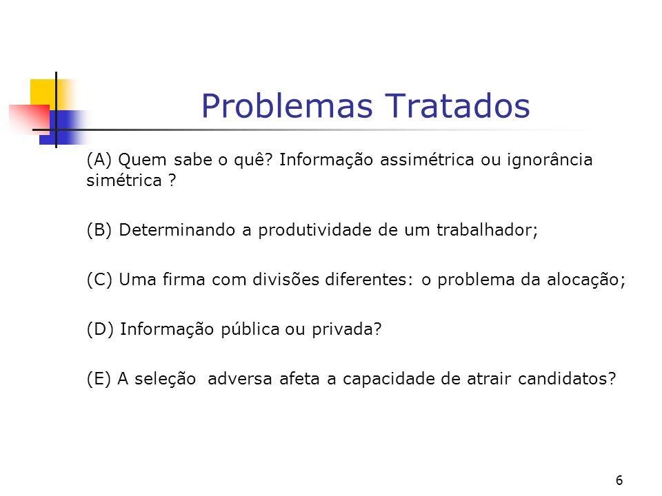 6 Problemas Tratados (A) Quem sabe o quê. Informação assimétrica ou ignorância simétrica .