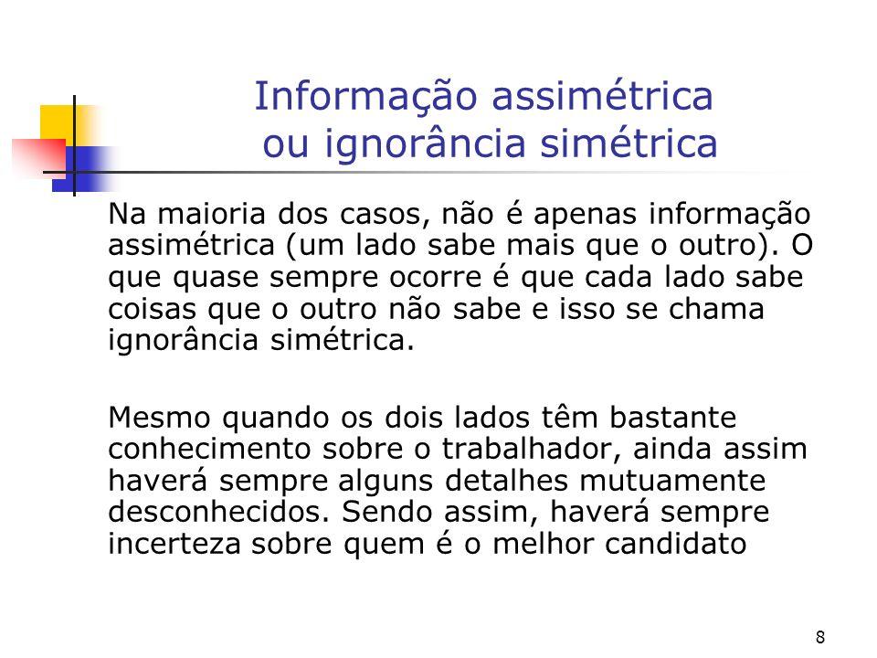 8 Informação assimétrica ou ignorância simétrica Na maioria dos casos, não é apenas informação assimétrica (um lado sabe mais que o outro).