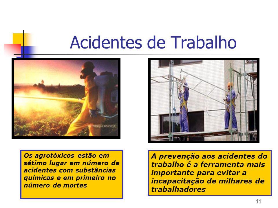 11 Acidentes de Trabalho A prevenção aos acidentes do trabalho é a ferramenta mais importante para evitar a incapacitação de milhares de trabalhadores Os agrotóxicos estão em sétimo lugar em número de acidentes com substâncias químicas e em primeiro no número de mortes