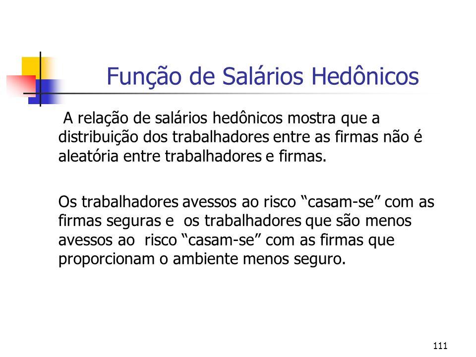 111 Função de Salários Hedônicos A relação de salários hedônicos mostra que a distribuição dos trabalhadores entre as firmas não é aleatória entre trabalhadores e firmas.