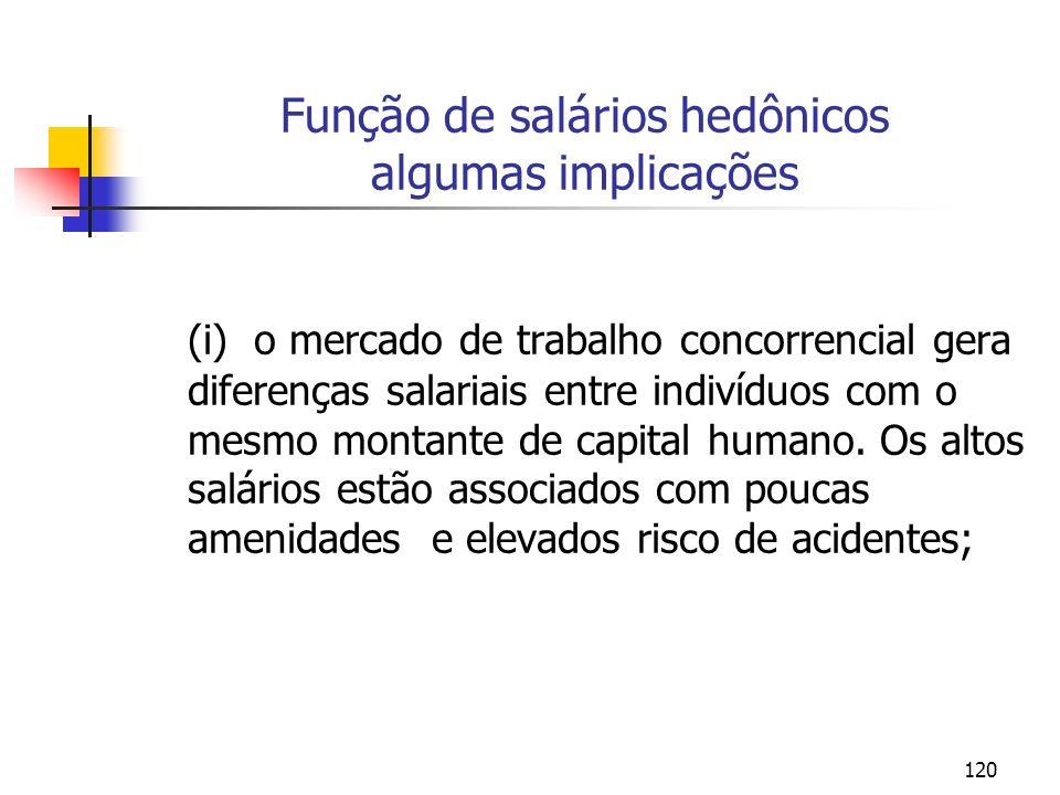 120 Função de salários hedônicos algumas implicações (i) o mercado de trabalho concorrencial gera diferenças salariais entre indivíduos com o mesmo montante de capital humano.