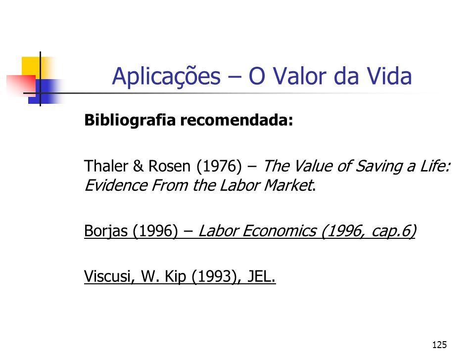 125 Aplicações – O Valor da Vida Bibliografia recomendada: Thaler & Rosen (1976) – The Value of Saving a Life: Evidence From the Labor Market.