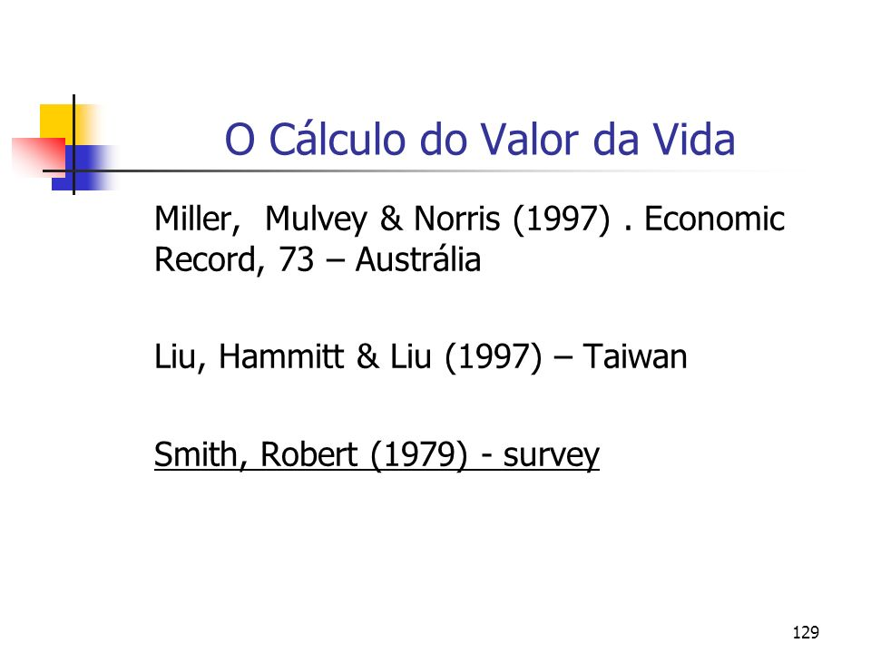 129 O Cálculo do Valor da Vida Miller, Mulvey & Norris (1997). Economic Record, 73 – Austrália Liu, Hammitt & Liu (1997) – Taiwan Smith, Robert (1979)