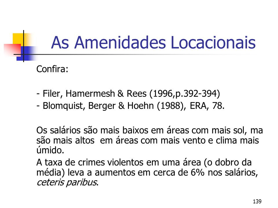 139 As Amenidades Locacionais Confira: - Filer, Hamermesh & Rees (1996,p.392-394) - Blomquist, Berger & Hoehn (1988), ERA, 78.
